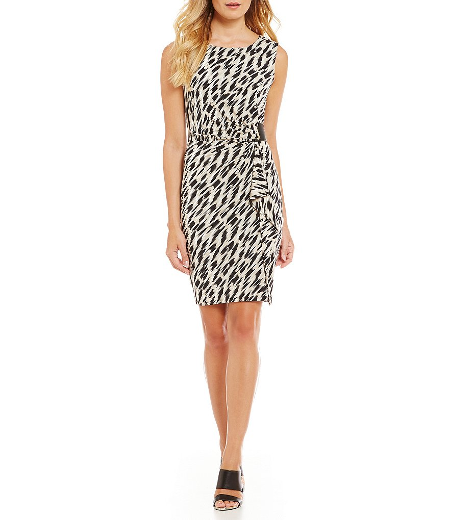Calvin Klein Printed Matte Jersey Side-Drape Sheath Dress