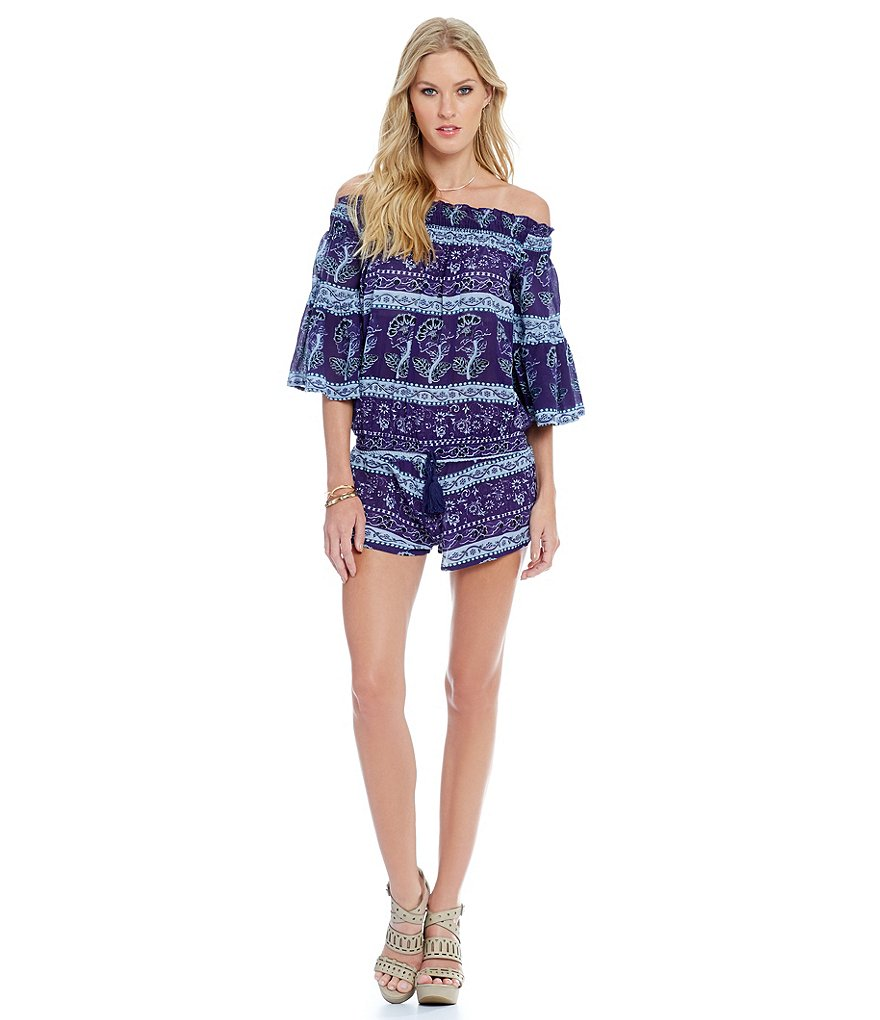 Chelsea & Violet Off-The-Shoulder 3/4 Bell Sleeve Romper