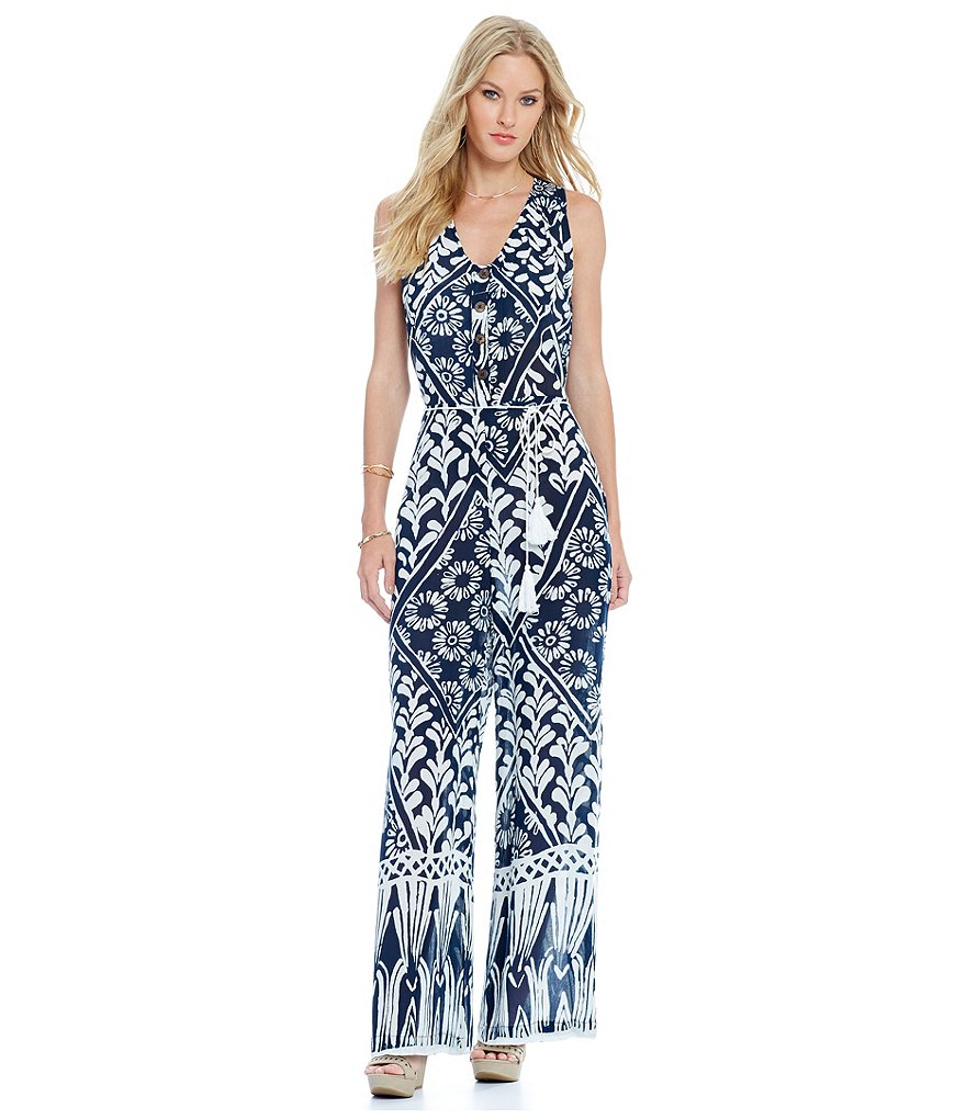 Chelsea & Violet Printed V-Neck Sleeveless Jumpsuit