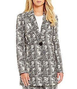 Kasper Jacquard Patterned Long Sleeve V-Neck Jacket Image