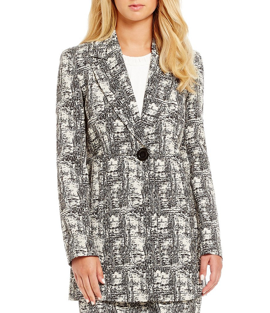 Kasper Jacquard Patterned Long Sleeve V-Neck Jacket