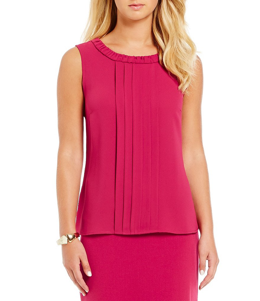 Kasper Sleeveless Jewel Neck Blouse