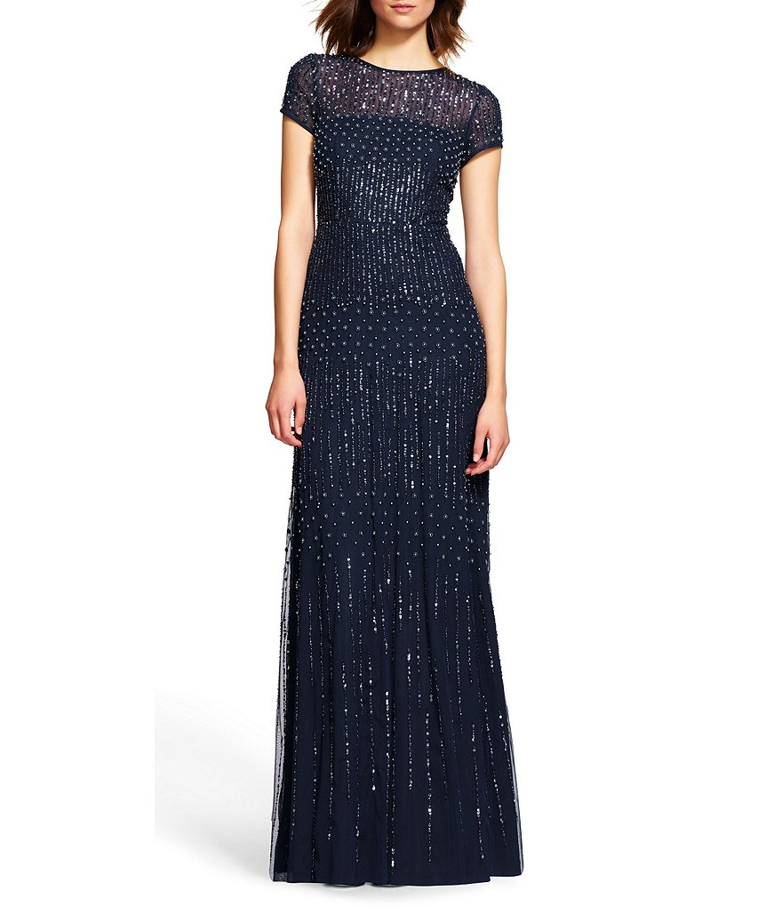 Adrianna Papell Petite Short Sleeve Beaded Gown