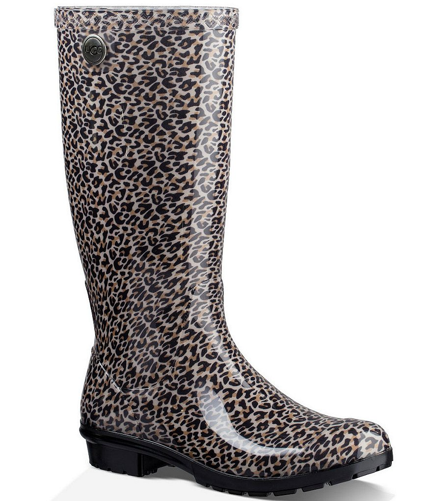 UGG® Shaye Leopard Rubber Shearling Lined Tall Rain Boots