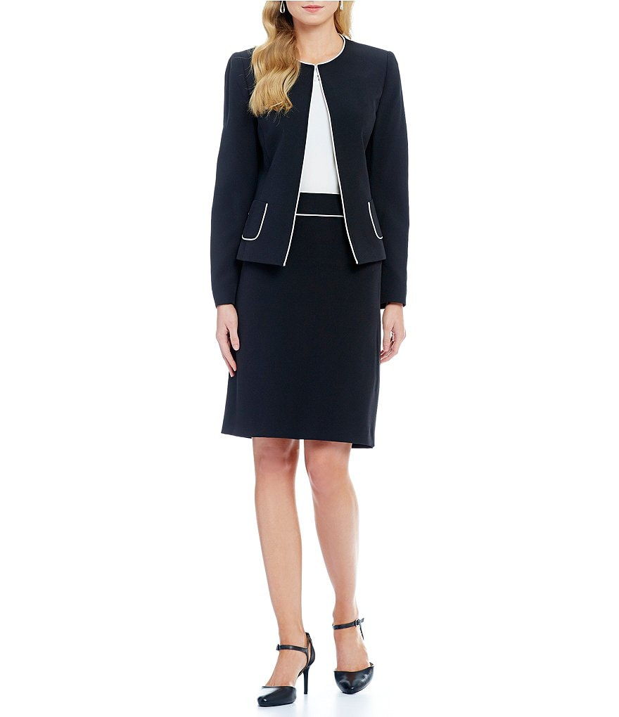 Tahari ASL Piped Pockets Open Front Skirt Suit