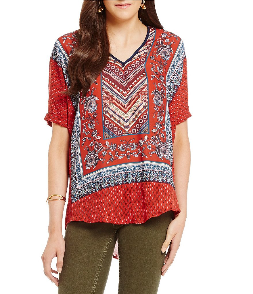 Living Doll V-Neck Border Print Top