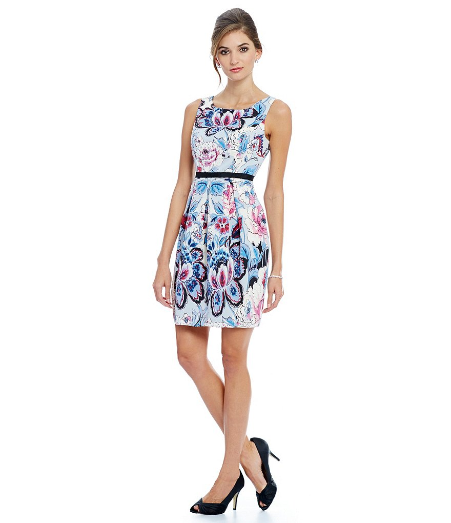 Adrianna Papell Petite Floral-Print A-Line Dress
