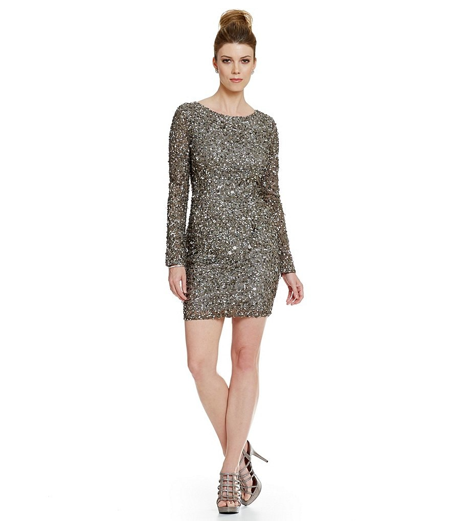 Adrianna Papell Petite Long-Sleeve Beaded Dress