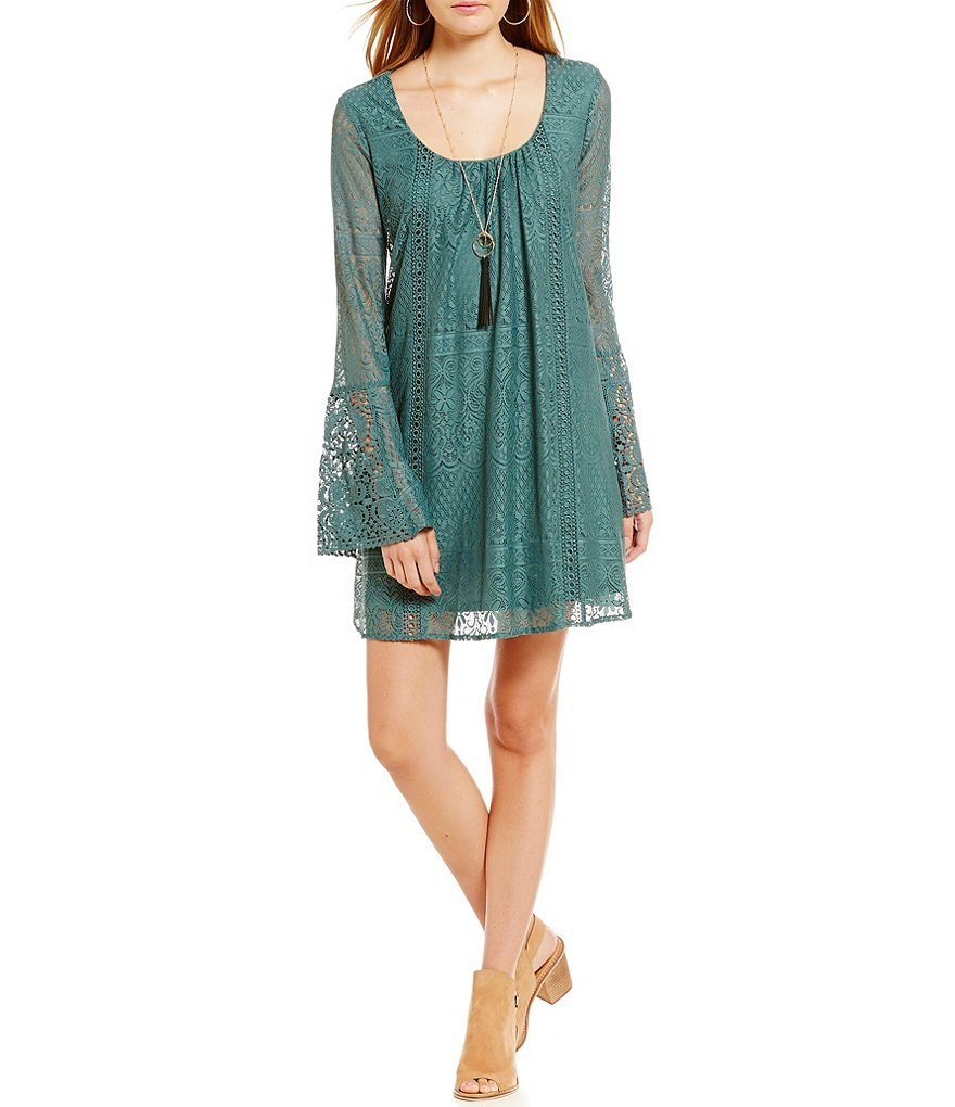 Sequin Hearts Long Bell Sleeve Lace Shift Dress