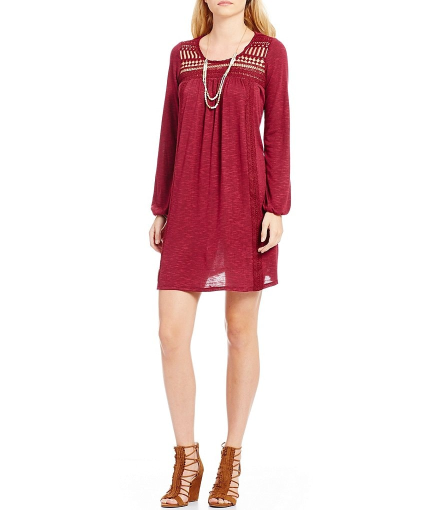 Sequin Hearts Long-Sleeve Embroidered Cut-Out Yoke Shift Dress