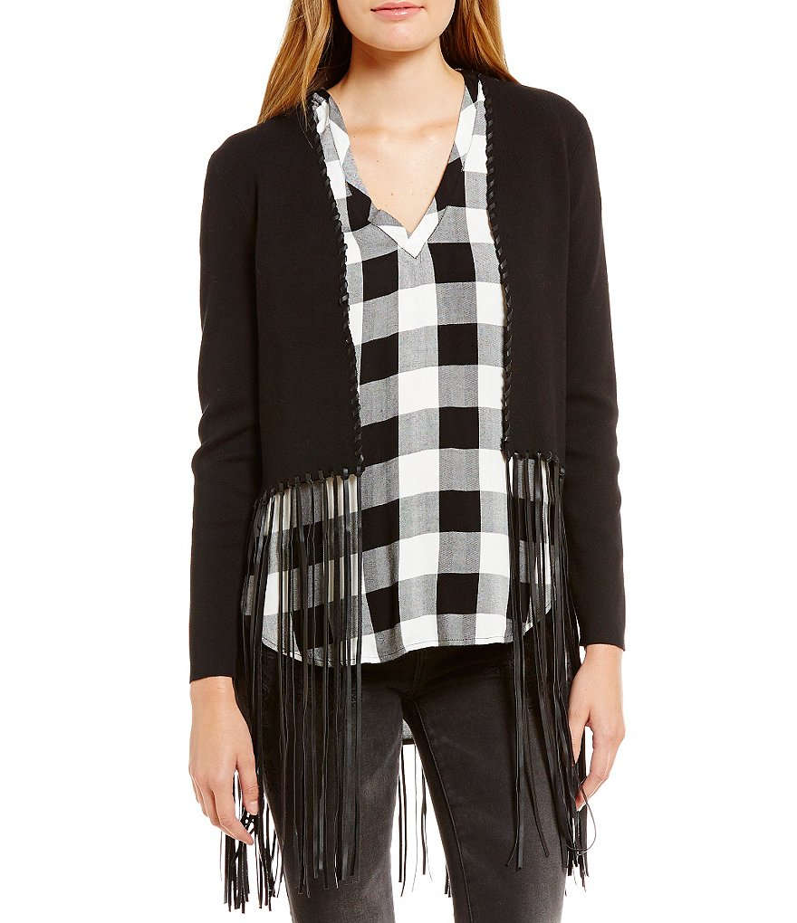 Chelsea & Violet Faux Leather Fringe Cardigan