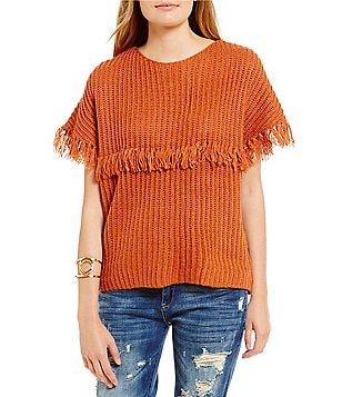 Chelsea & Violet Boat-neck Sweater with Fringe
