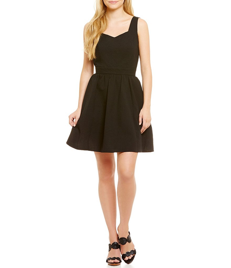 Lauren James Garrison Solid Fit and Flare Dress