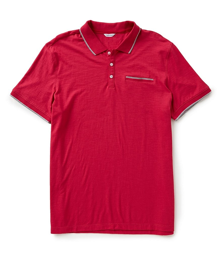 Calvin Klein Short-Sleeve Slub Tipped Polo Shirt