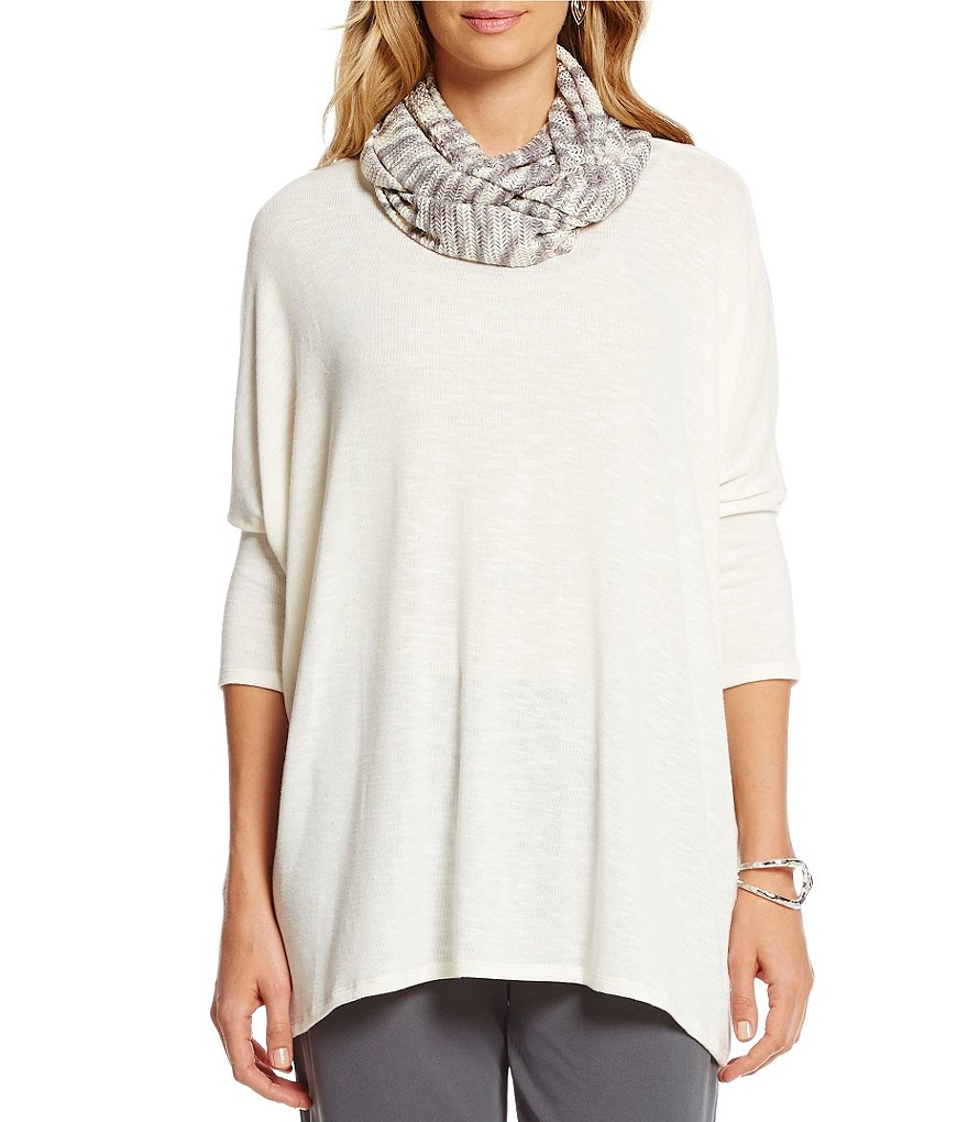 Multiples Drop Shoulder Accent Scarf Solid Top