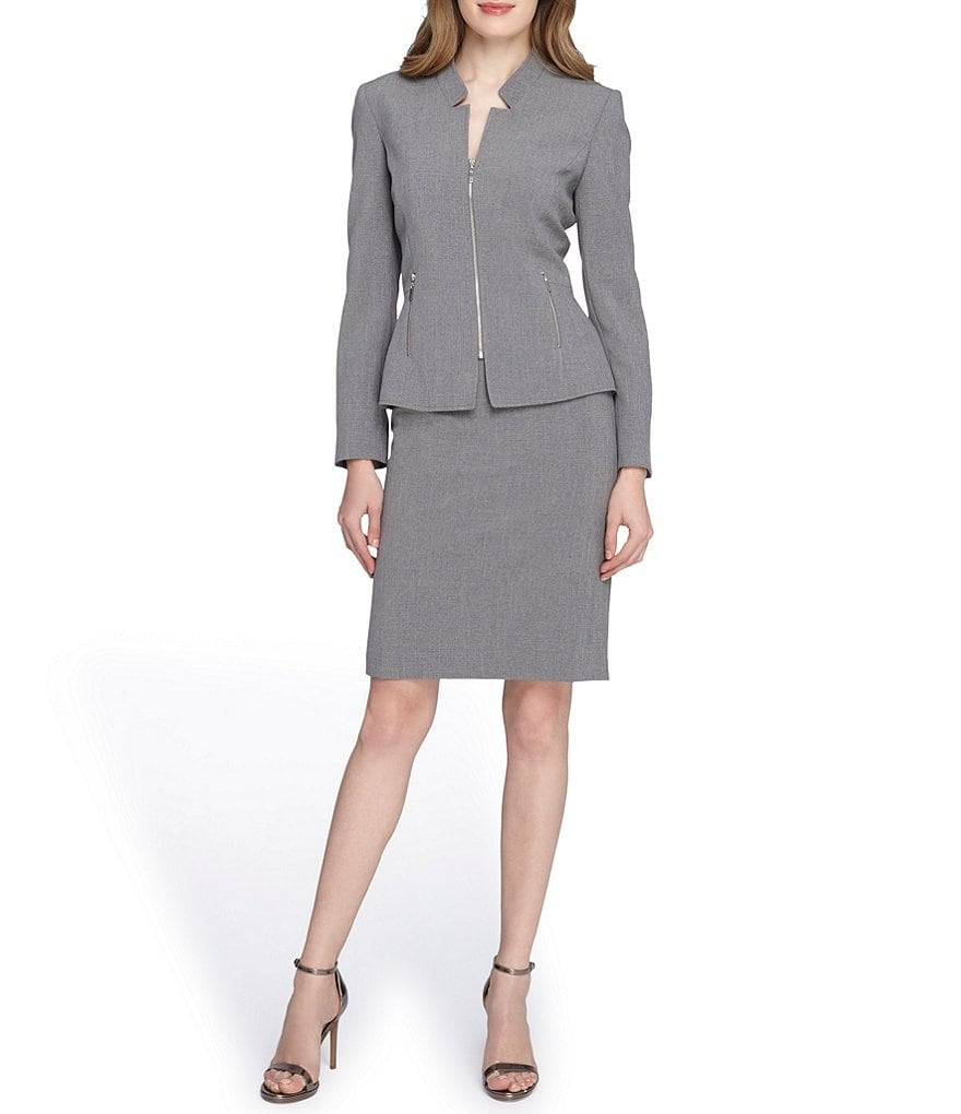 Tahari ASL Starneck Zip Pocket Skirt Suit