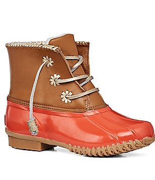 Jack Rogers Chloe Leather & Rubber Lace-Up Duck Boots