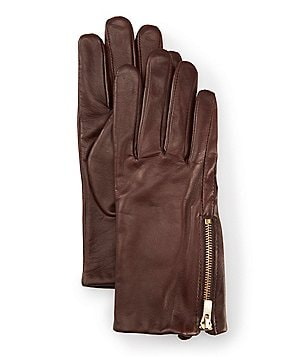 Dillard´s Leather Zipper Gloves