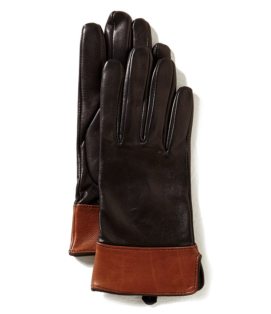 Dillard´s Color Block Leather Gloves