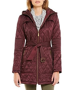 Vince Camuto Removeable Hood Belted Quilted Coat
