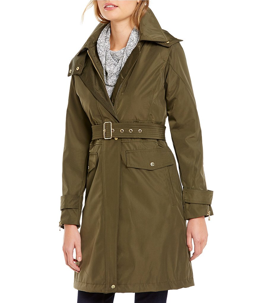 Vince Camuto Hooded and Belted Rain Trench Coat