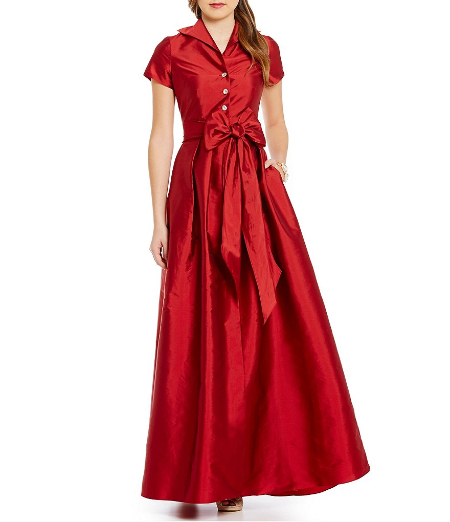 Adrianna Papell Petite Point Collar Taffeta Ball Gown