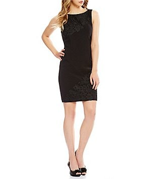 Tahari ASL Petite Embroidered Bodice Sheath Dress