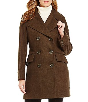 Anne Klein Double Breasted Wool Mid Length Military Peacoat