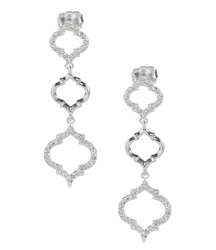 Nadri Mandala Crystal Linear Drop Earrings