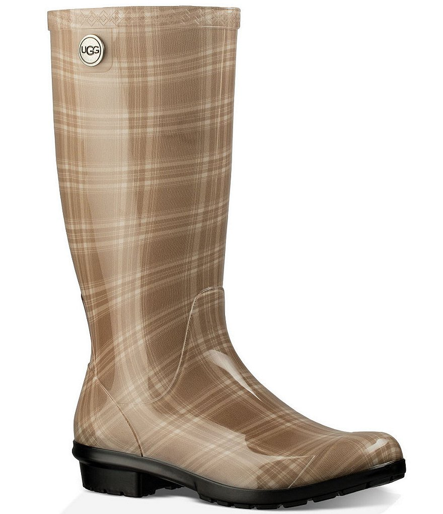 UGG® Shaye Plaid Rubber Rain Boots