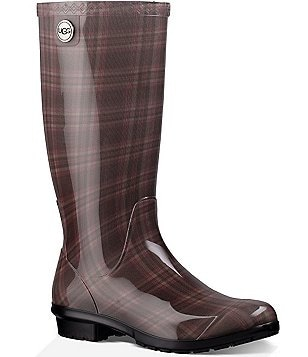 UGG® Shaye Plaid Rubber Shearling Lined Tall Rain Boots
