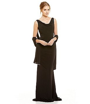 Terani Couture Cowl Neck Sleeveless Mesh Back Beaded Gown