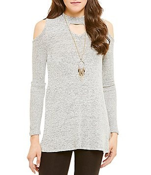 I.N. San Francisco Choker Neckline Cold Shoulder Top