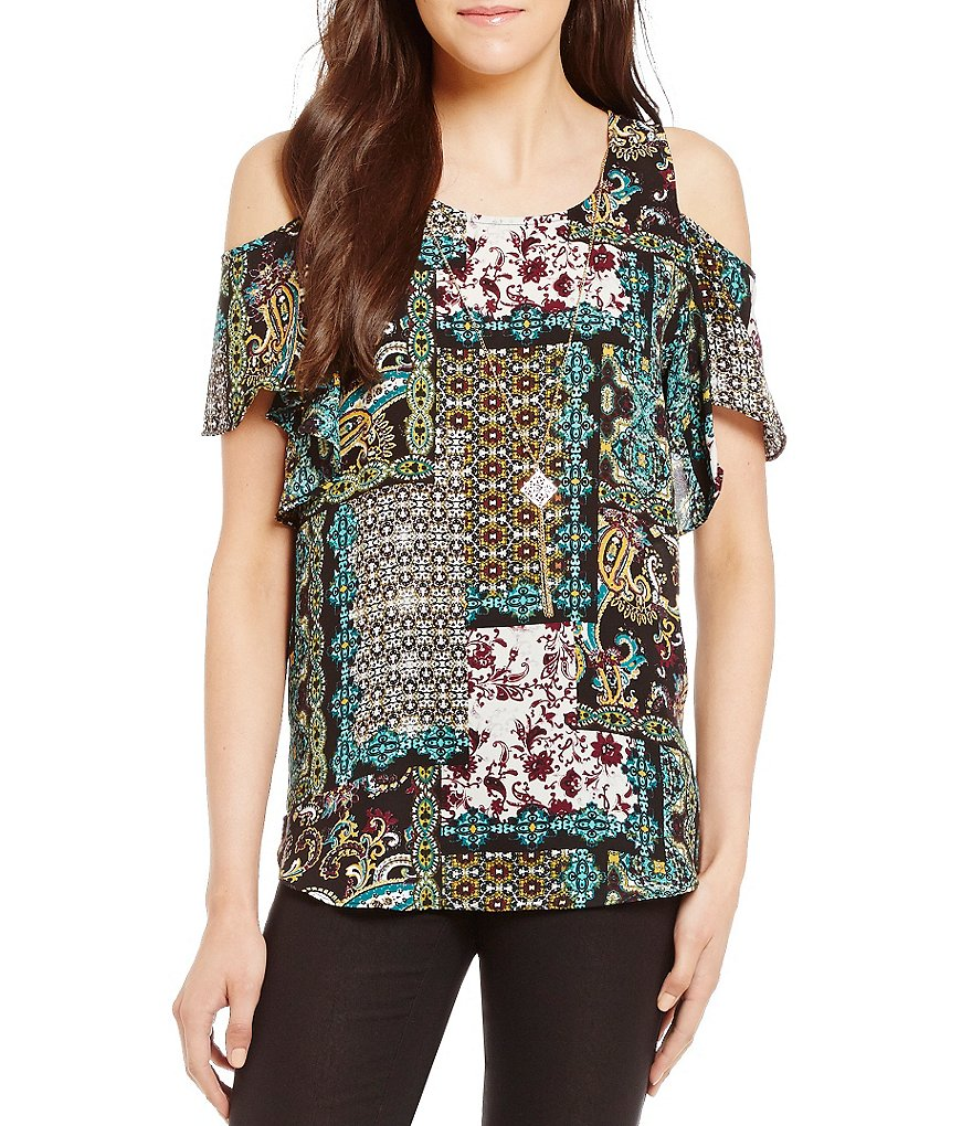 I.N. San Francisco Printed Flutter Sleeve Cold Shoulder Top