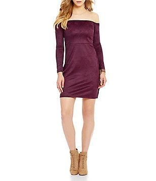 Buffalo David Bitton Solid Faux Suede Off The Shoulder Dress