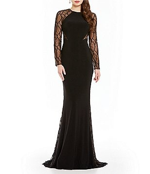 Terani Couture Round Neck Long Sleeve Beaded Illusion Gown