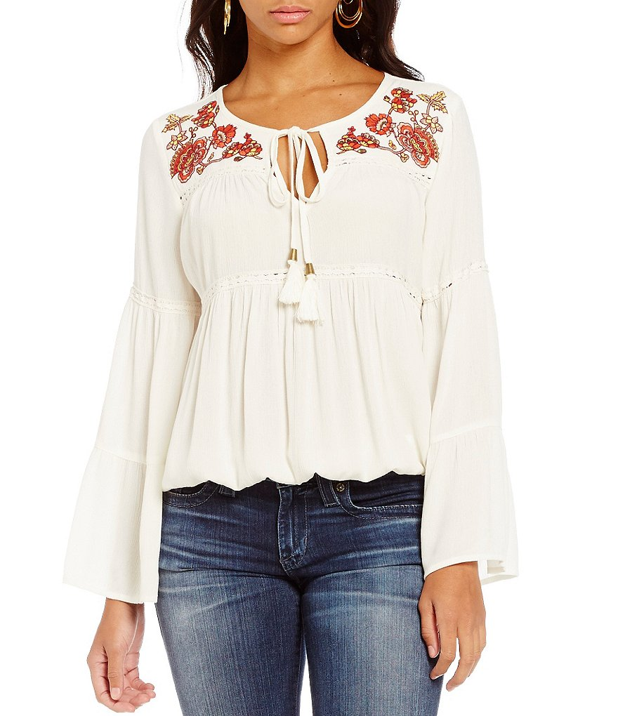Takara Embroidered Tie-Front Peasant Top