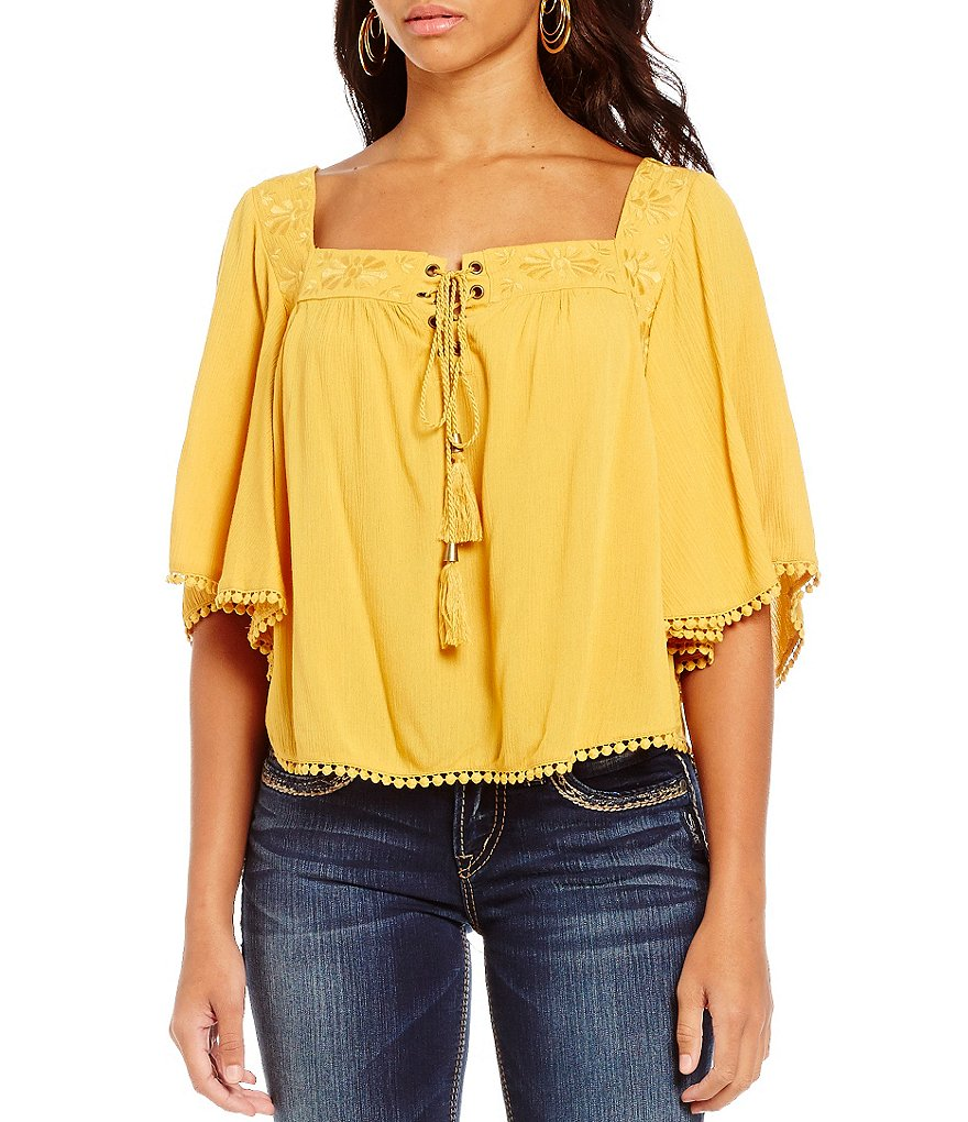 Takara Flutter Sleeve Lace-Up Peasant Top