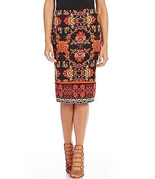 Takara Border-Printed Pencil Skirt