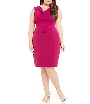 Adrianna Papell Plus Drape-Neck Sheath Dress