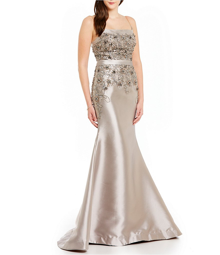 Terani Couture Square Neck Beaded Lace Mermaid Gown
