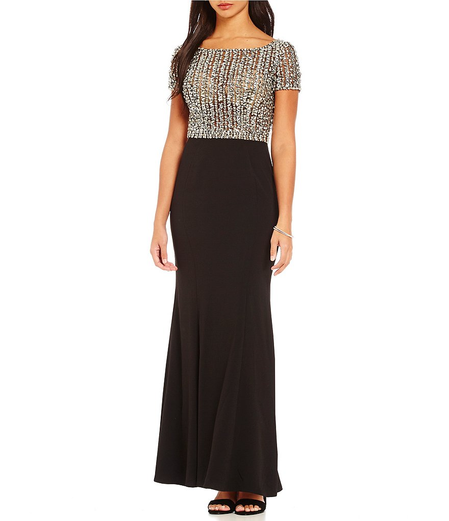 Terani Couture Short Sleeve Beaded Bodice Gown