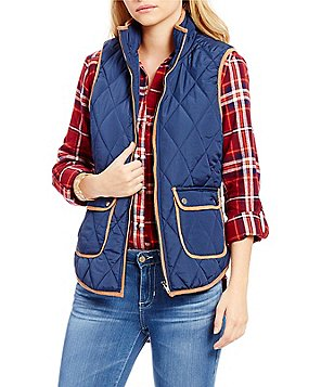 Takara Faux-Leather Trim Quilted Vest