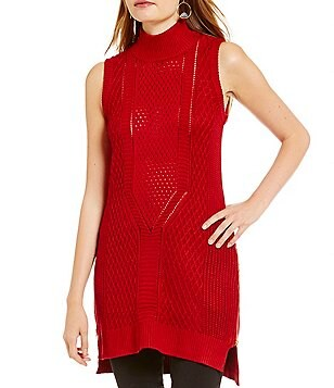Takara Zip Sides Mock Neck Sleeveless Tunic Sweater