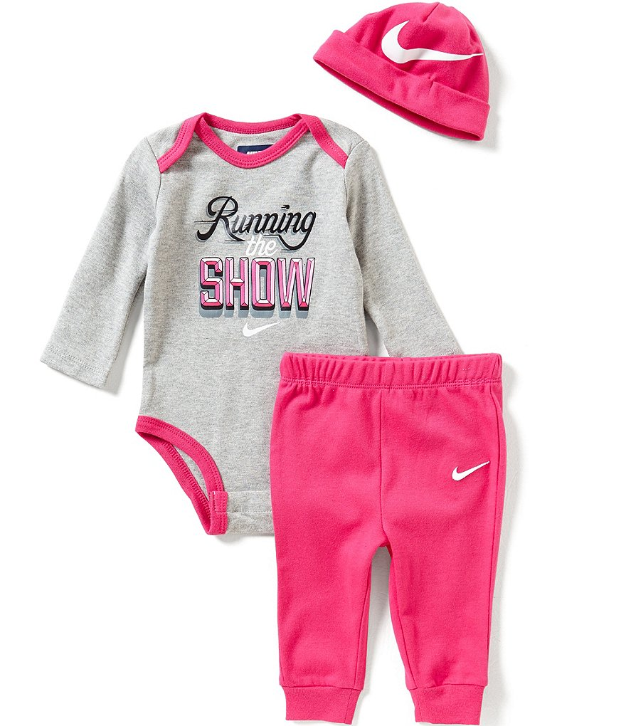 Nike Baby Girls Newborn-12 Months Running The Show Long-Sleeve Bodysuit, Solid Pants & Hat Set