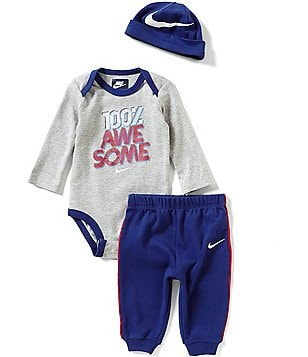 Nike Baby Boys Newborn-12 Months 100 Percent Awesome Long-Sleeve Bodysuit, Pants & Hat Set
