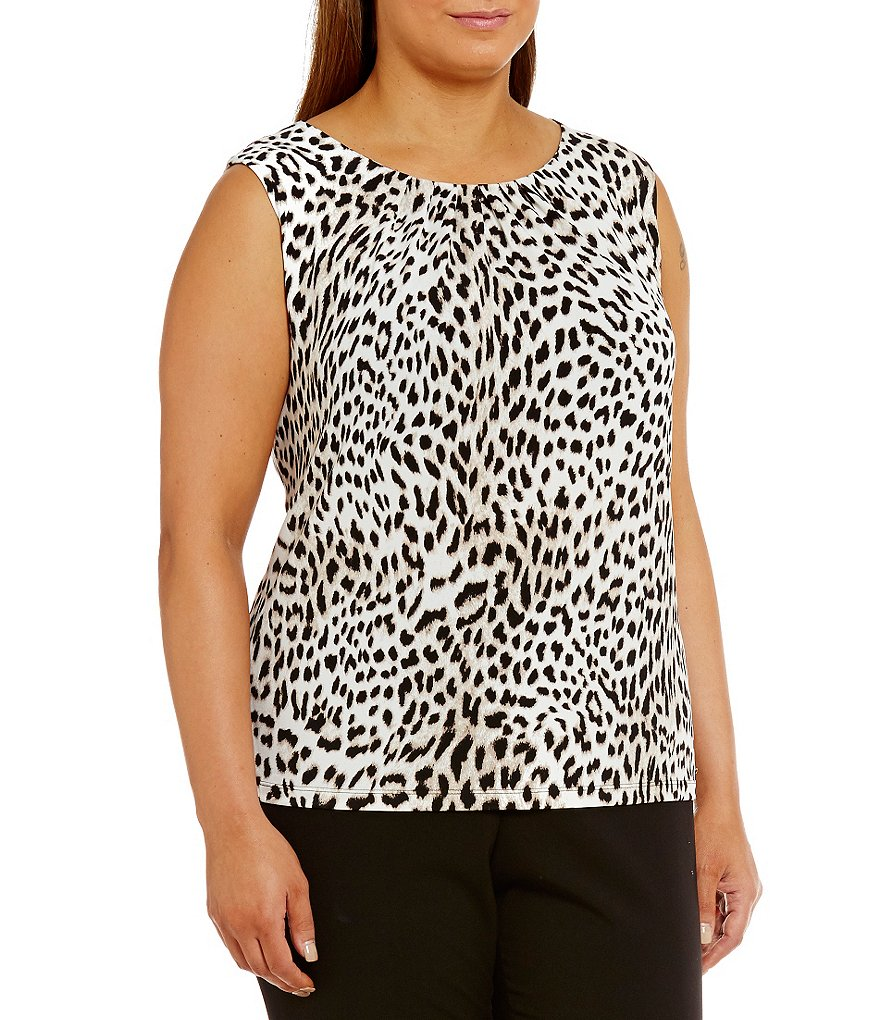 Calvin Klein Plus Animal Print Pleat Neck Matte Jersey Shell