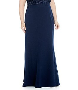 Adrianna Papell Plus Long Stretch Crepe Skirt Image