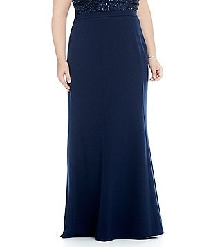 Adrianna Papell Plus Long Stretch Crepe Skirt