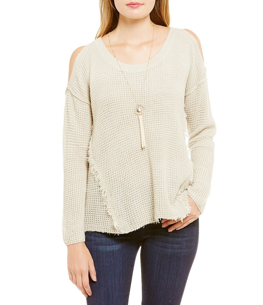Coco + Jaimeson Cold-Shoulder Textured Sweater